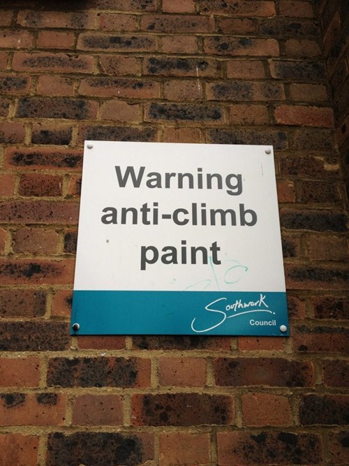 clever notice paint sign warning - 5625240576