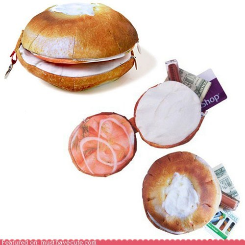 bagel,cream cheese,lox,wallet,zipper