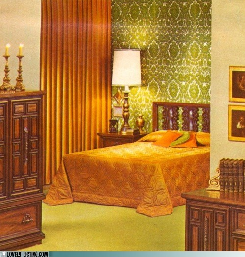 70s,bedroom,green,new year,orange,tacky