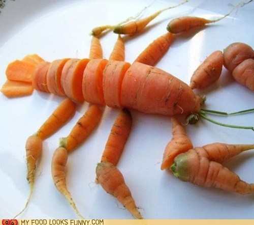 carrots,legs,lobster,sculpture,snack