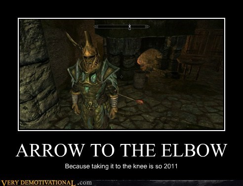arrow,bad joke,elbow,hilarious,Skyrim