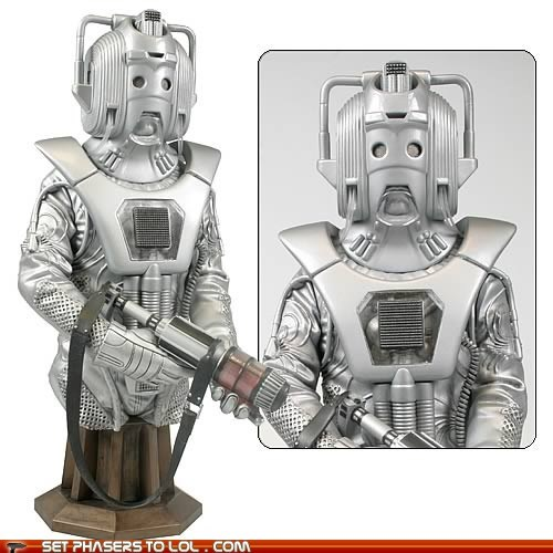 art bust cybermen doctor who earthshock episode statue