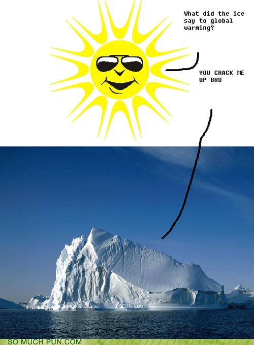 answer,crack,cracking,cracking up,double meaning,global warming,ice,question,sun