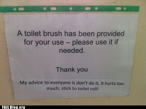 bathroom fail nation g rated Hall of Fame ouch signs toilet brush - 5626834944