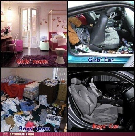 boys vs girls,car,dating,gender differences,g rated,Hall of Fame,messy,room