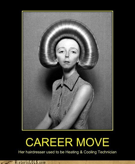career,career move,demotivator,hairdo,hairdresser,hairstyle,heating and cooling technician,historic lols,job,work