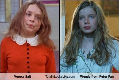 veruca salt totally looks like wendy from peter pan totally looks like