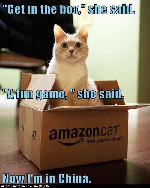 """Get in the box,"" she said. ""A fun game, "" she said. Now I'm in China."