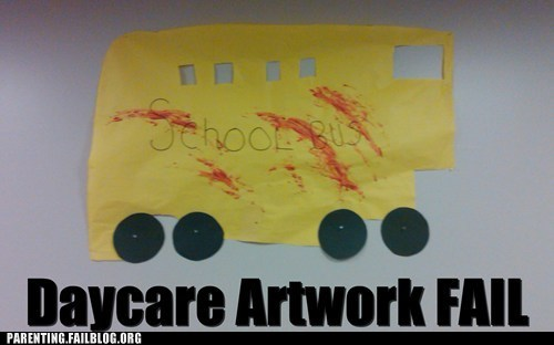 art,Blood,daycare,paint,Parenting Fail,scary,school bus
