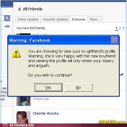 click,ex girlfriend,facebook,warning