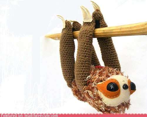 Amigurumi face Plush sleepy sloth toy - 5634537472