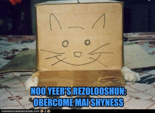 box caption captioned caricature cat face hiding new years resolution overcome shyness - 5634840576
