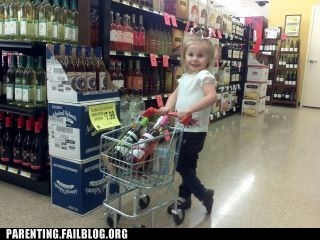 alcohol,booze,cart,g rated,groceries,grocery shopping,grocery store,parenting,Parenting Fail,shopping,wine