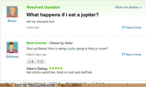 beavis and butthead,eat,jupiter,Yahoo Answer Fails