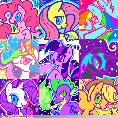 80s art awesome even spike mane nine mane six ponies vibrant