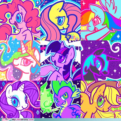 80s art awesome even spike mane nine mane six ponies vibrant - 5636365568