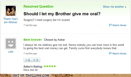 bait and switch,family,oral,Yahoo Answer Fails