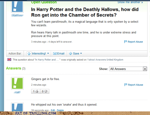 ginger,Harry Potter,snake,Yahoo Answer Fails