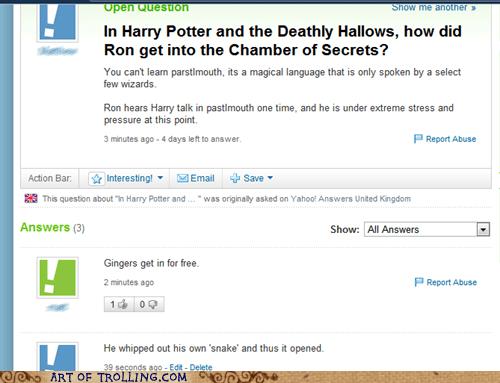 ginger Harry Potter snake Yahoo Answer Fails - 5637044224