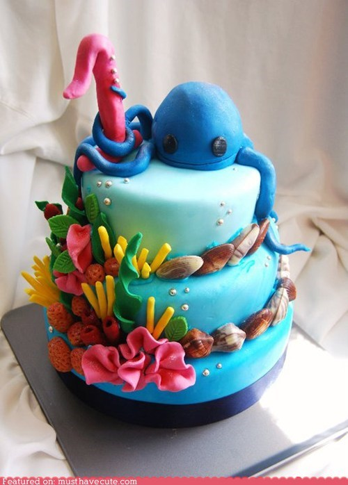 cake coral epicute fondant octopus reef shells underwater - 5637316864