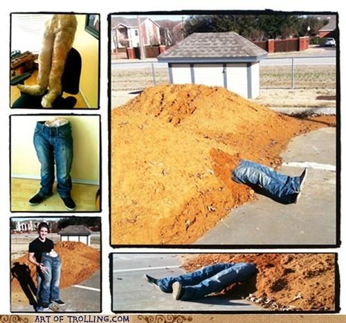 dirt,IRL,legs,prank