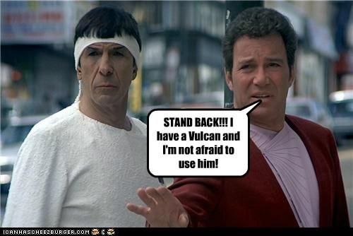 Captain Kirk Leonard Nimoy Shatnerday Spock stand back Star Trek Vulcan William Shatner - 5638170624
