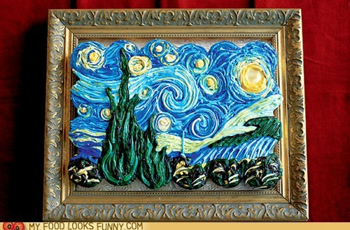 cupcakes icing painting starry night Van Gogh