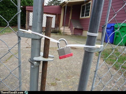padlock,security,stupidity,zip ties