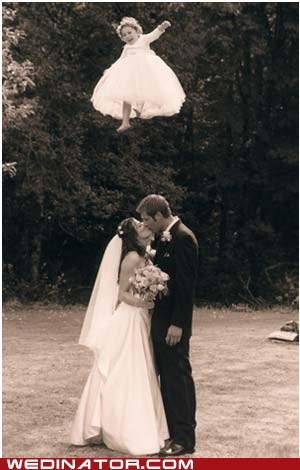 bride children fly funny wedding photos groom kids KISS - 5639558912