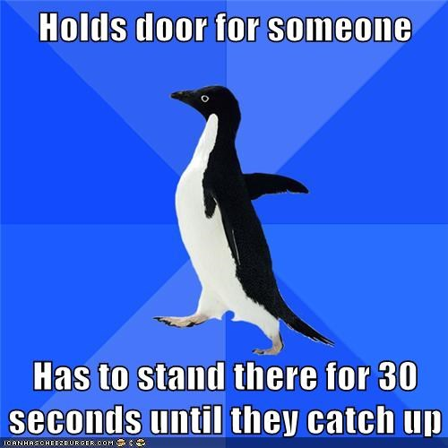 catch up,conversation,hold door,socially awkward penguin