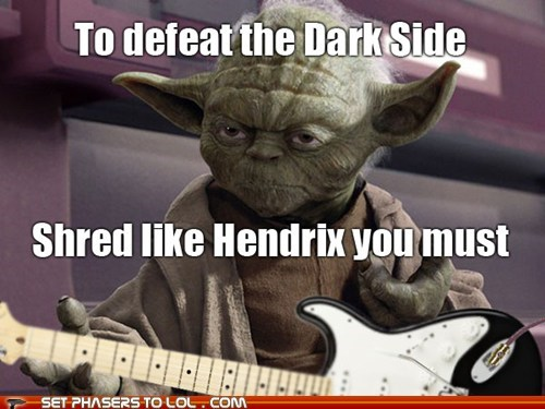 dark side,guitar,hendrix,shred,star wars,yoda