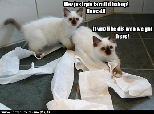 It wuz like dis wen we got here! Wez jus tryin ta roll it bak up! Honest!!