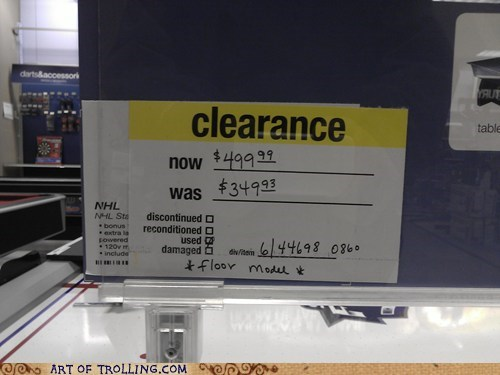 clearance,floor model,IRL,price