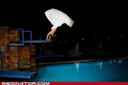 bride dive funny wedding photos olympics pool - 5642189568