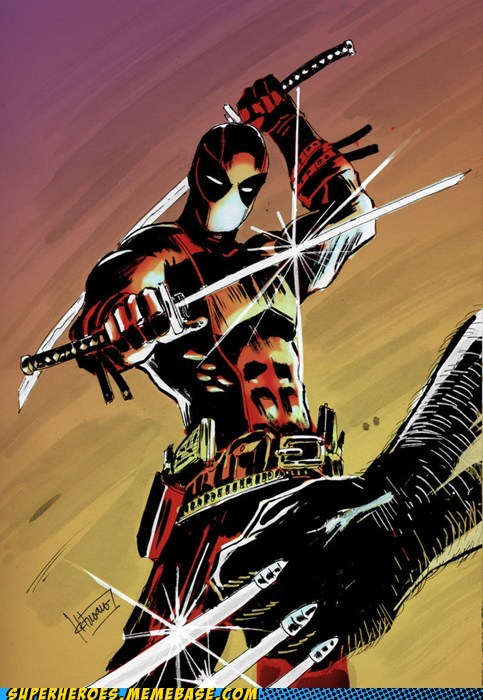 Awesome Art deadpool fight wolverine - 5643125504