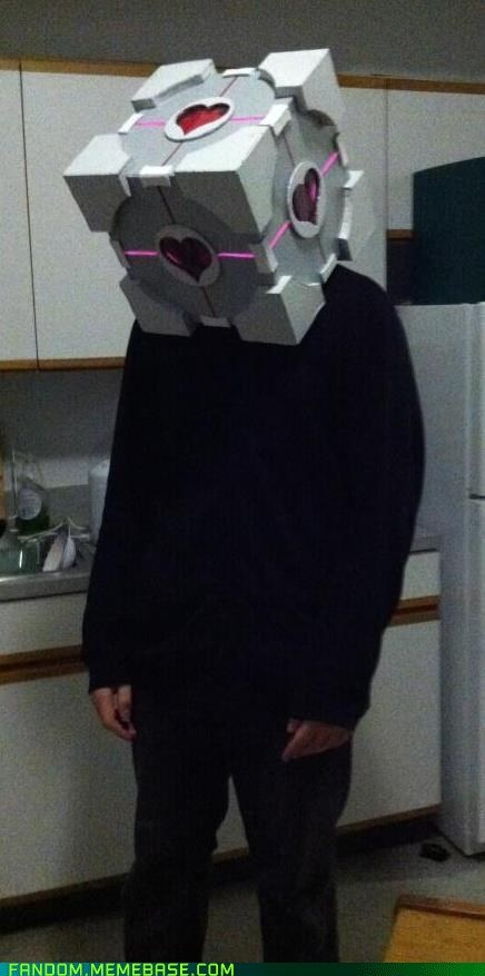 companion cube cosplay head Portal - 5643877120