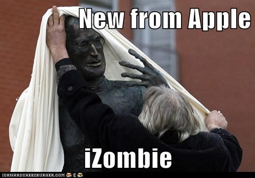 political pictures,statue,steve jobs,zombie