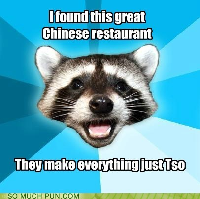 chinese food homophone Lame Pun Coon literalism restaurant similar sounding so tso