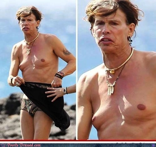 at the beach,not in great shape,shirtless,steven tyler