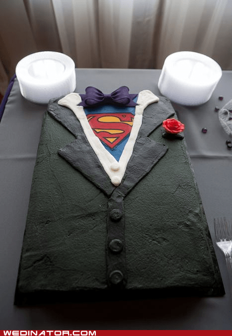 funny wedding photos,geek,grooms-cake,superman shirt