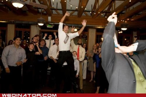 funny wedding photos girdle Groomsmen jump