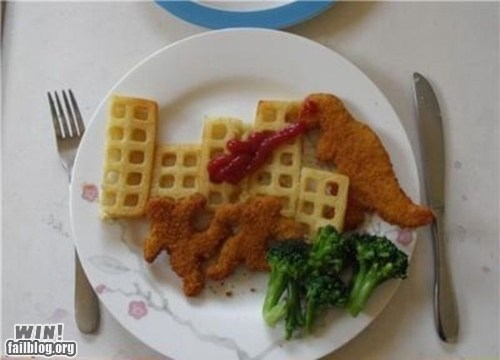 clever,design,food,food art,godzilla,g rated,win