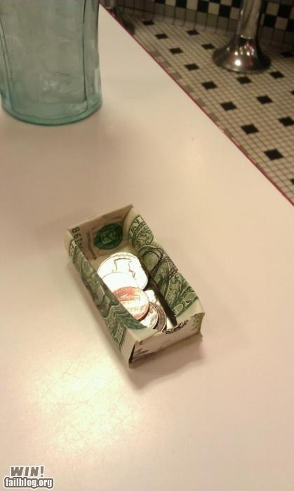 design,money,origami,restaurant,tip