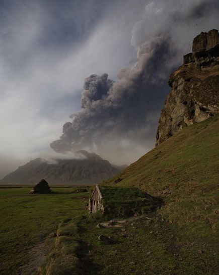 ash cloud eruption europe getaways green hillside Iceland scandinavia volcano - 5645915136