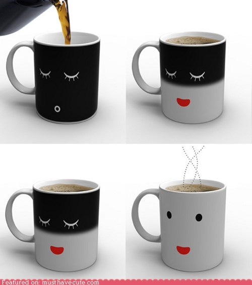 coffee cup face heat sensitive mug paint sleep wake