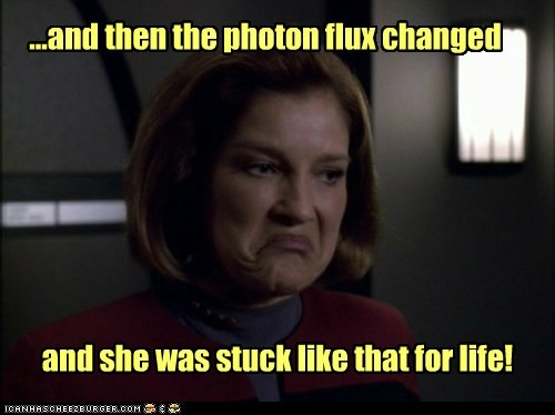 captain janeway,face,kate mulgrew,making faces,photon,Star Trek,stuck