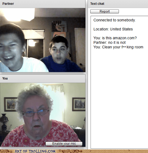 amazon,Chat Roulette,clean,grandma
