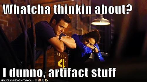 artifacts eddie mcclintock i dunno i guess joanne kelly myka bering pete latimer stuff warehouse warehouse 13 whatcha thinkin about - 5647546880