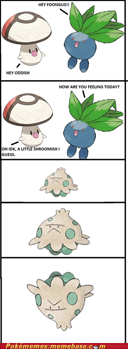 comic,foongus,i know that feel,oddish,plants,shroomish