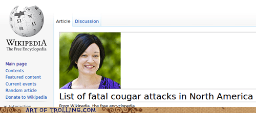 cougar,fatal,wiki appeal,wikipedia